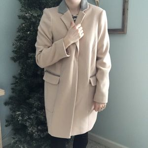 ASOS Blush Pink Reefer Jacket W/Grey Collar